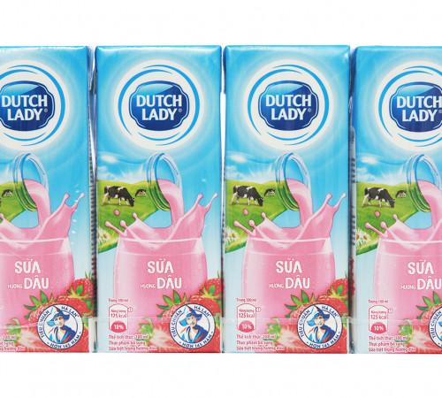 Sữa tiệt trùng Dutch Lady dâu 4*180ml