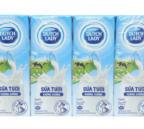 Sữa tiệt trùng Dutch Lady không đường 4*180ml